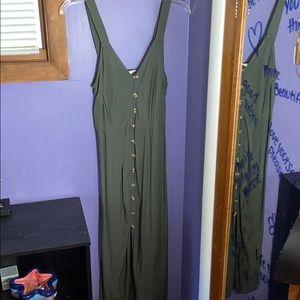 Button up green dress